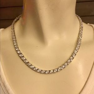 Beautiful Clear Cut Cubic Zirconia Tennis Necklace